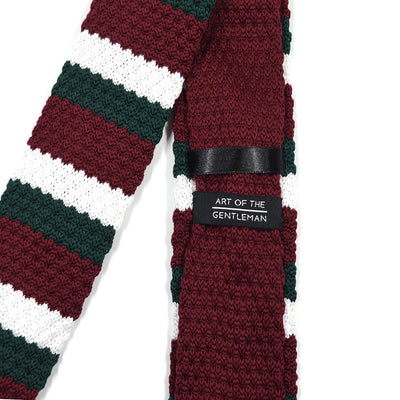 Knitted Green Burgundy Tie