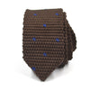 Knitted Point Brown Polka Dot Tie
