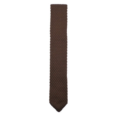 Knitted Point Brown Tie
