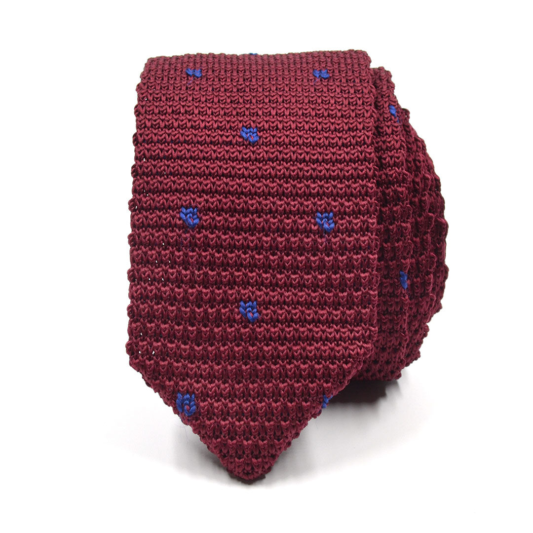 Knitted Point Burgundy Polka Dot Tie