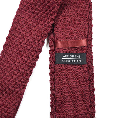Knitted Point Burgundy Tie