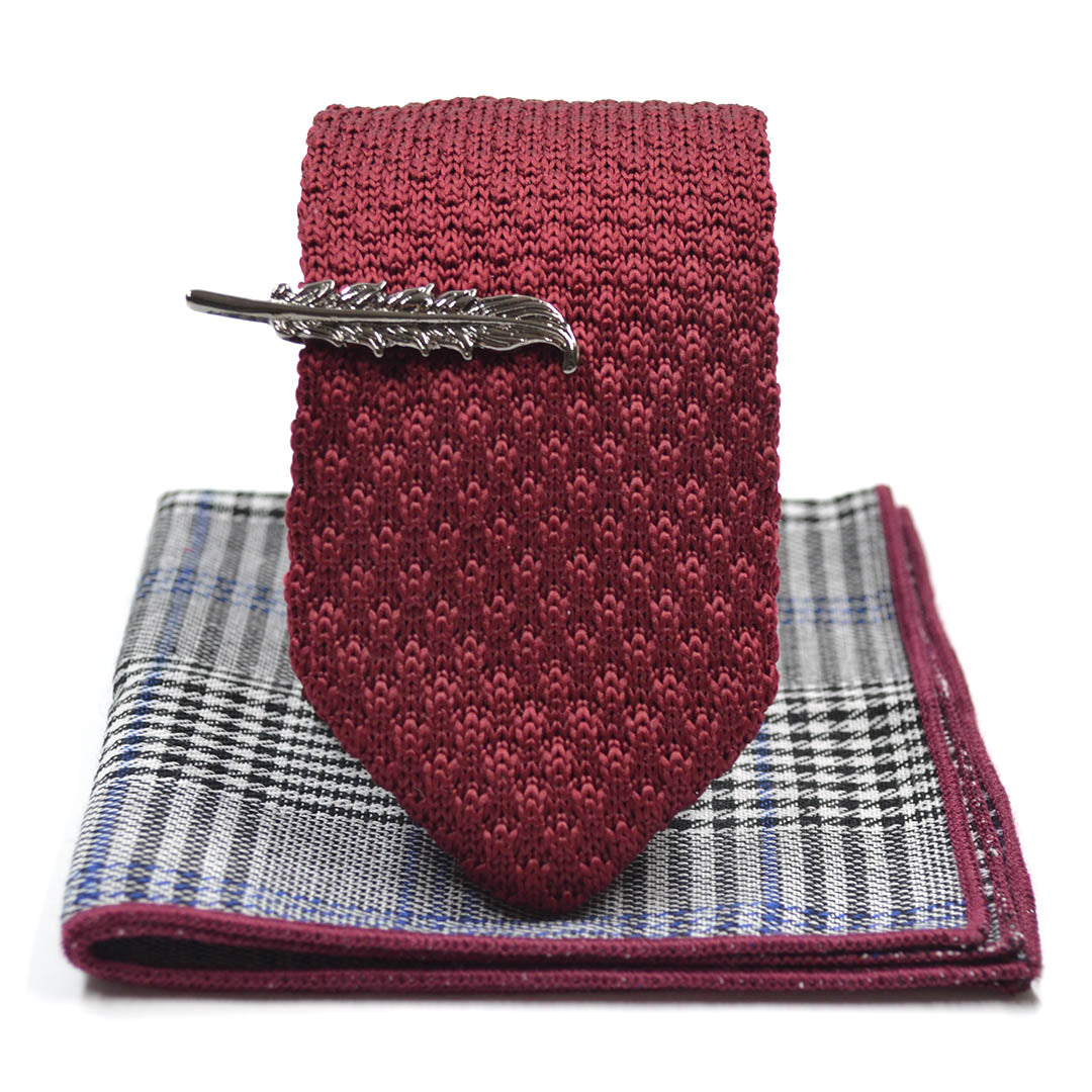 Knitted Point Burgundy Tie Set