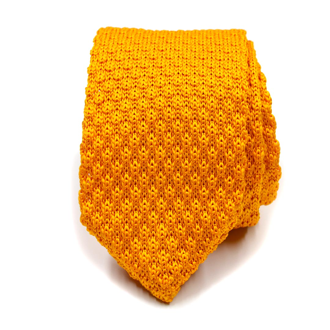 Knitted Point Dijon Yellow Tie