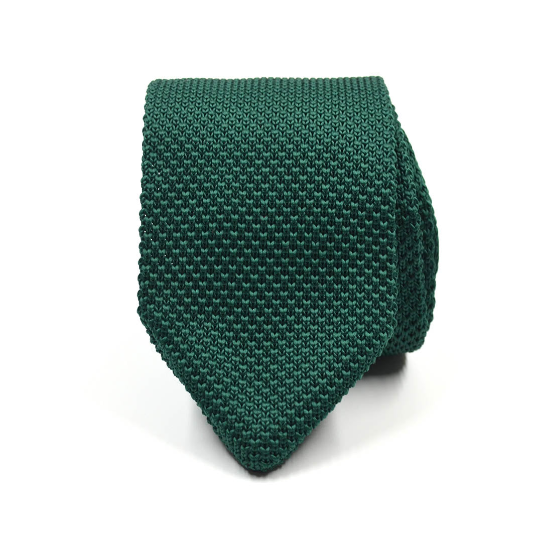 Knitted Point Emerald Green Tie