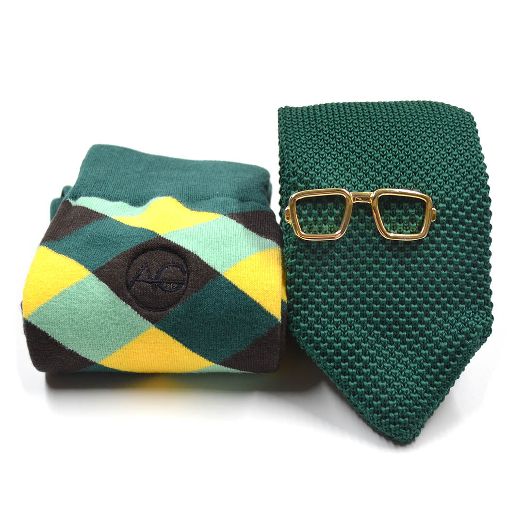Knitted Point Emerald Green Tie and Sock Set