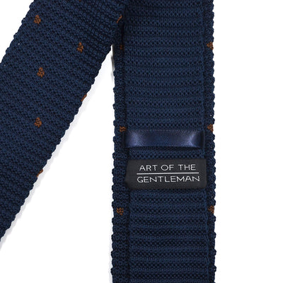 Knitted Point Navy Polka Dot Tie