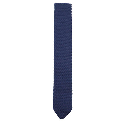 Knitted Point Navy Tie