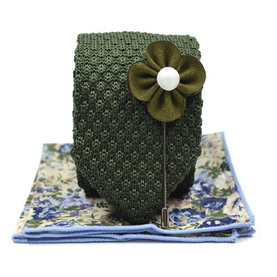 Knitted Point Olive Tie Set