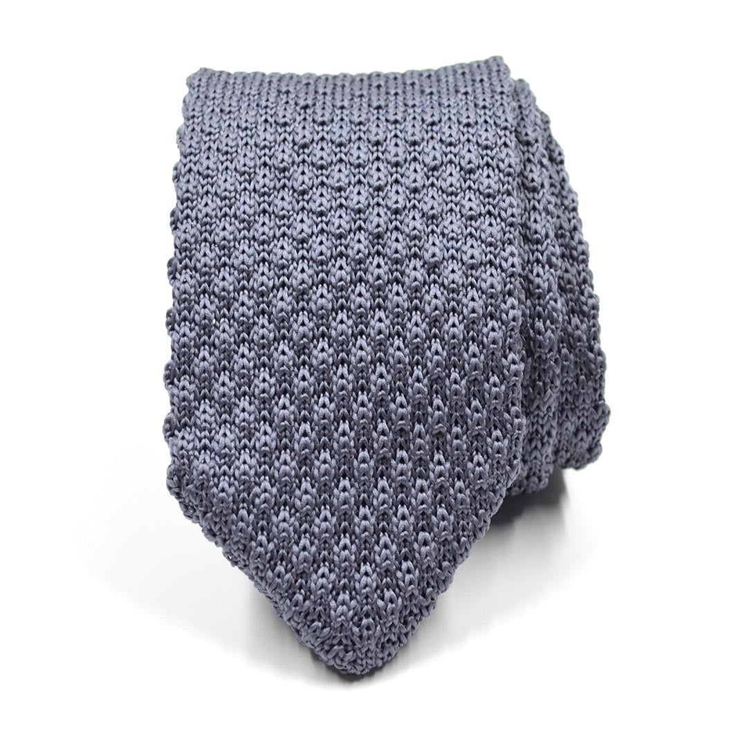 Knitted Point Silver Tie
