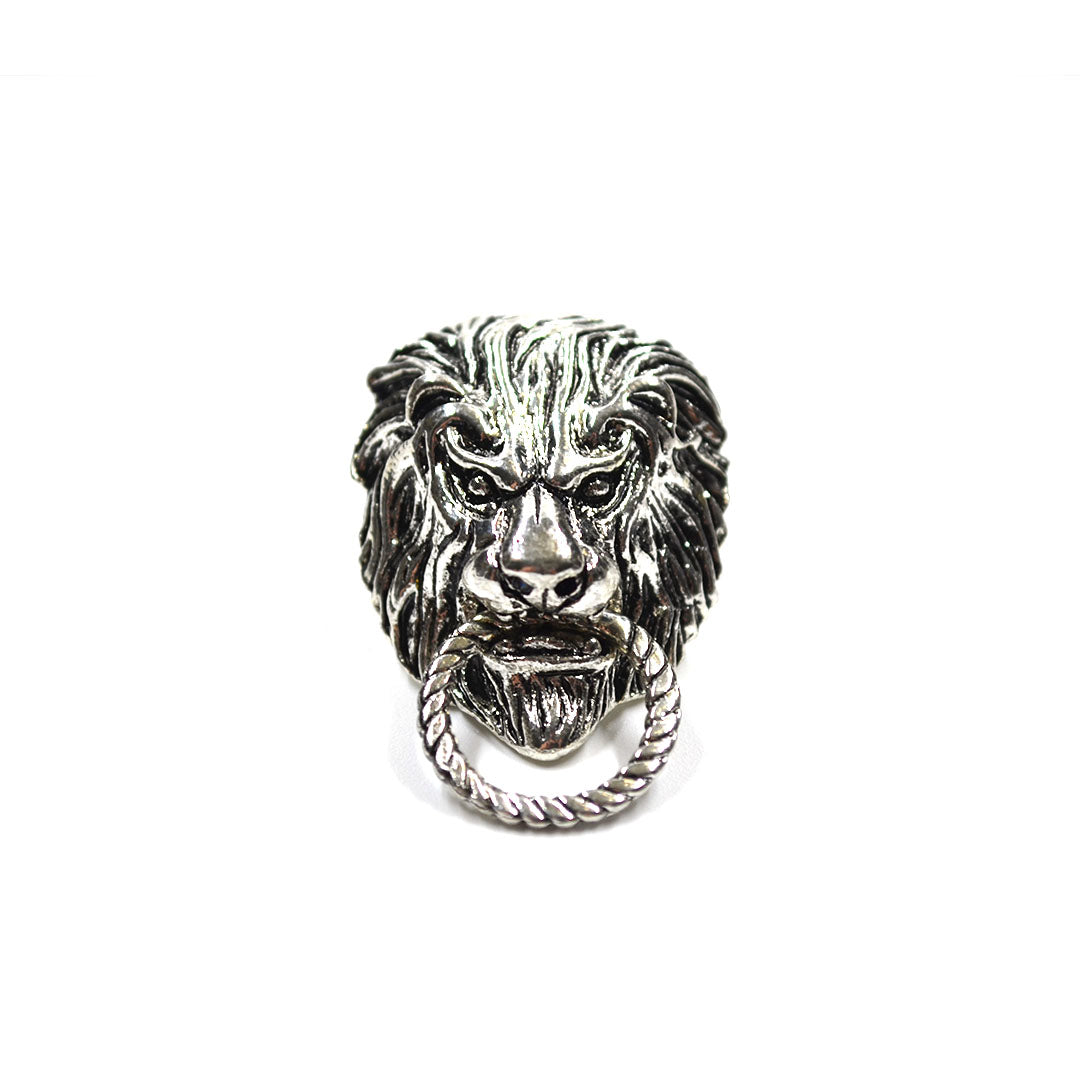 Silver Lion Lapel Pin