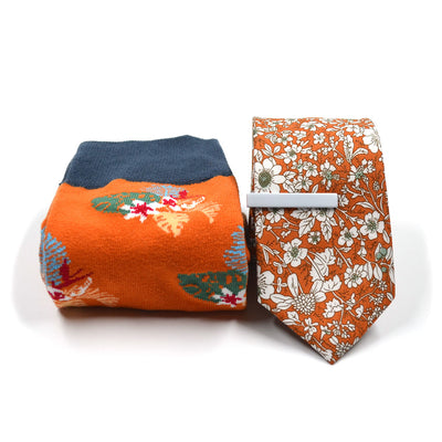 Floral Tiger Tie and Sock Set