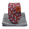 Paisley Medallion Burgundy Tie Set