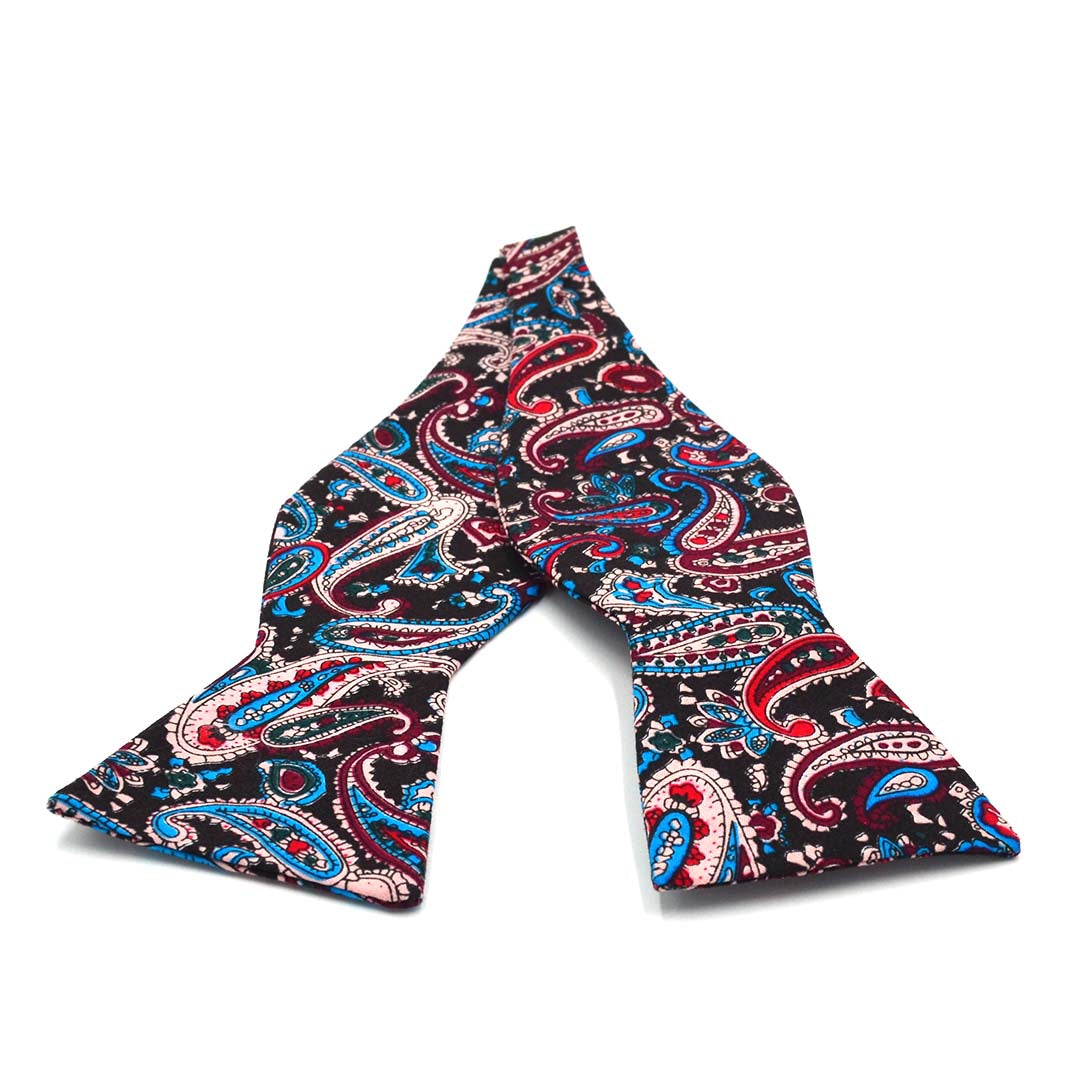 Paisley Black Sky Blue Bow Tie
