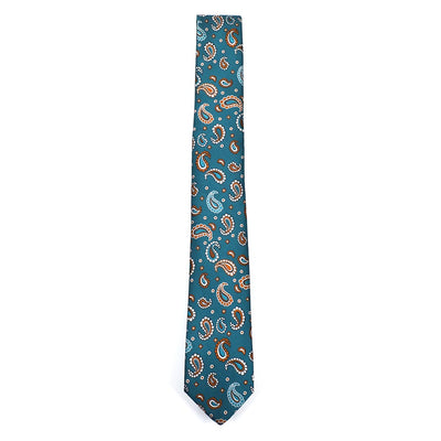 Paisley Crest Teal Tie