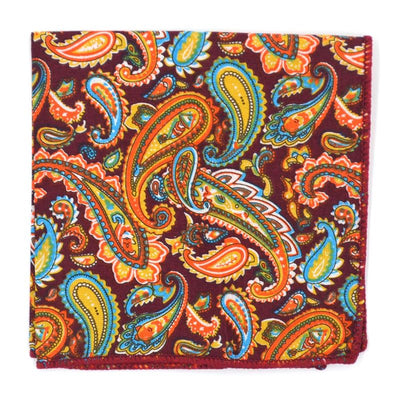 Pocket Square - Paisley Merlot Apricot Pocket Square