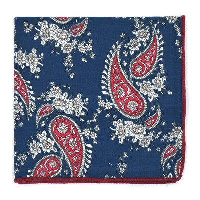 Paisley Navy Crimson Pocket Square
