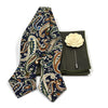 Paisley Navy Dijon Bow Tie Set