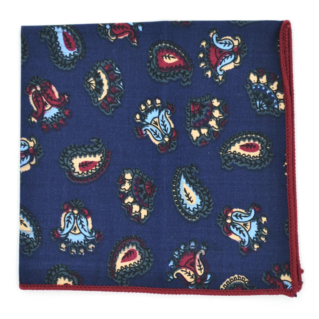 Paisley Navy Pocket Square