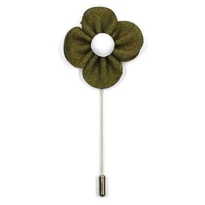 Lapel Pin - Pearl Floral Olive
