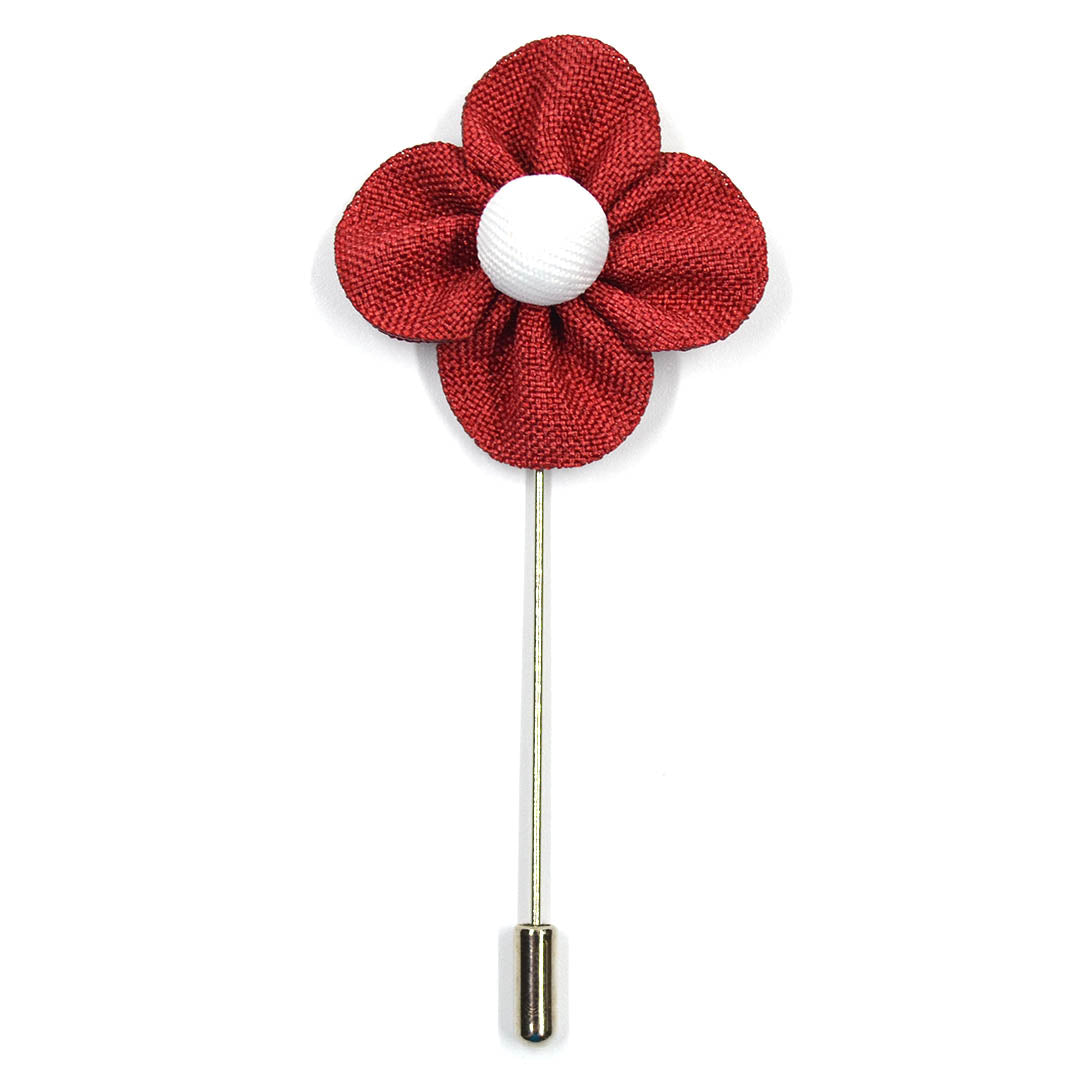 Lapel Pin - Pearl Floral Red