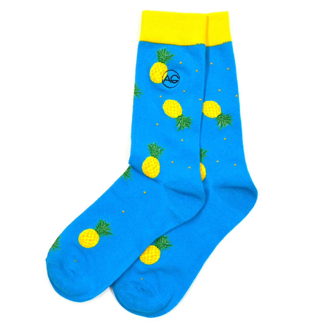 Pineapple Polka Dot Blue Men's Socks