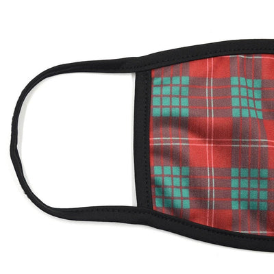 Plaid Burgundy Green Face Mask
