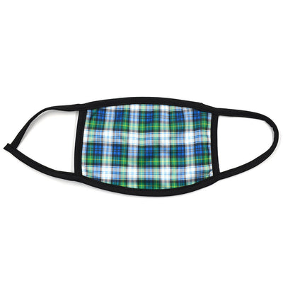 Plaid Navy Green Face Mask