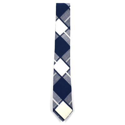 Plaid Navy White Tie