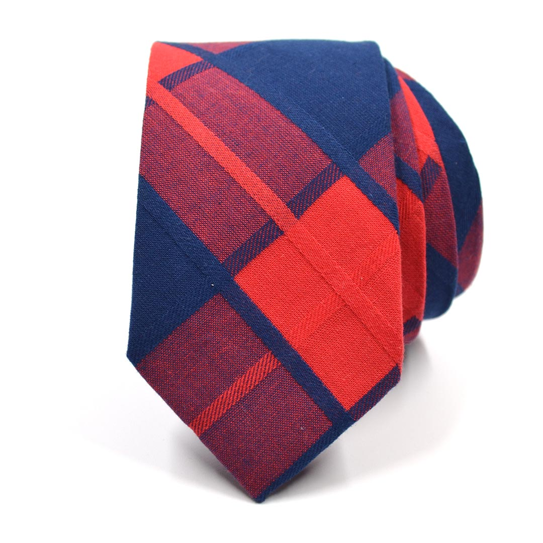 Plaid Red Navy Tie