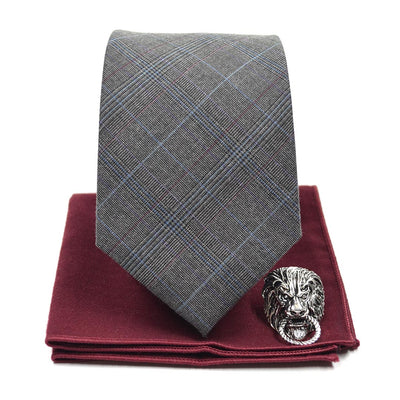 Plaid Sprezzatura Grey Tie Set