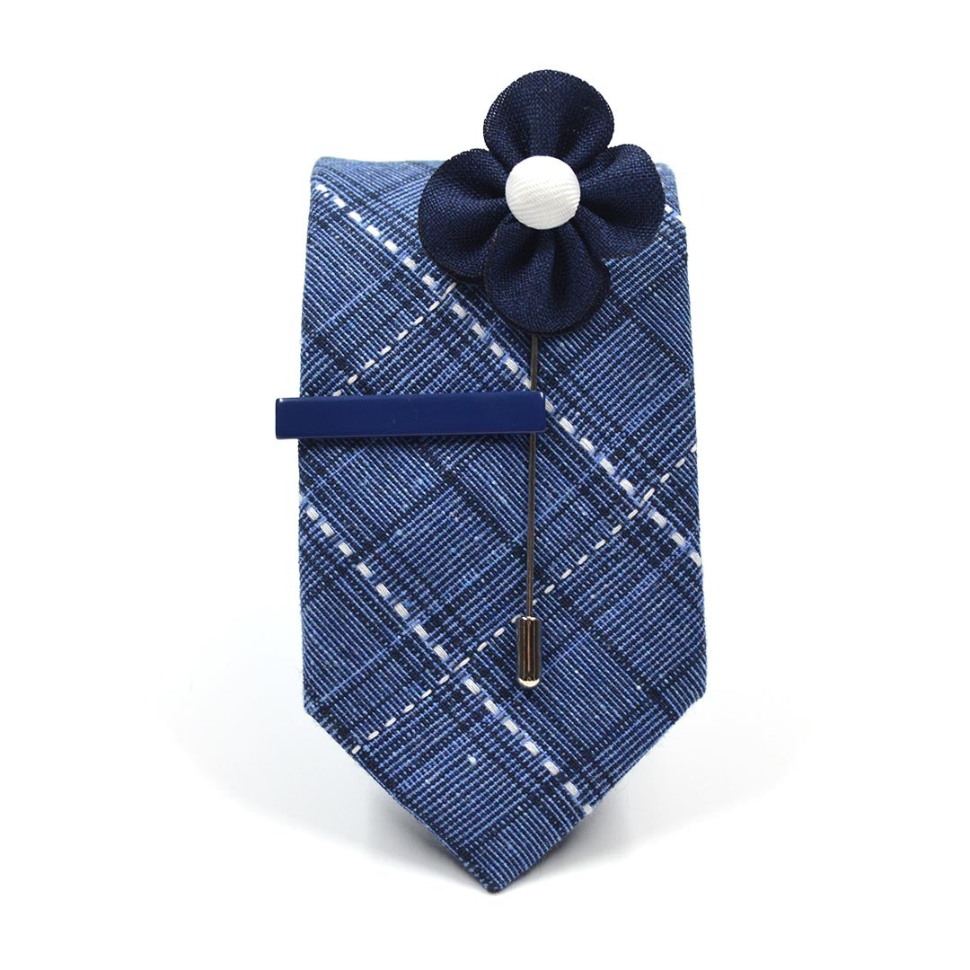 Plaid Stitches Blue Tie Set