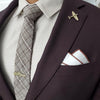 Brown Border Pocket Square with Suit and Tie