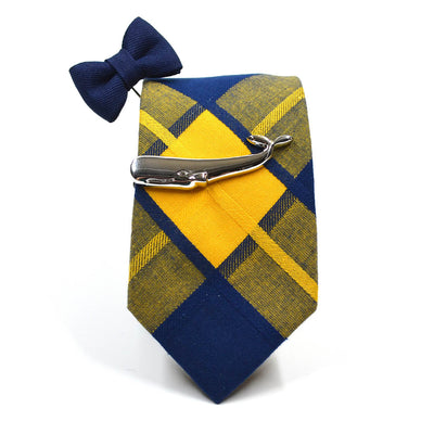 Plaid Yellow Navy Tie Set