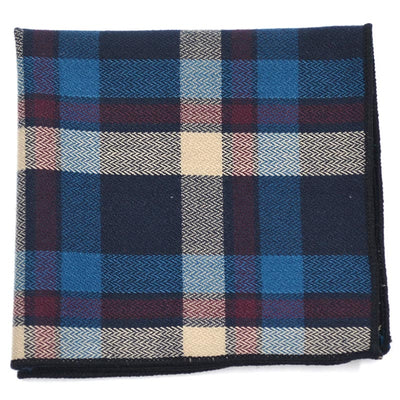 Plaid Blue Beige Pocket Square