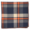 Plaid Orange Grey Pocket Square