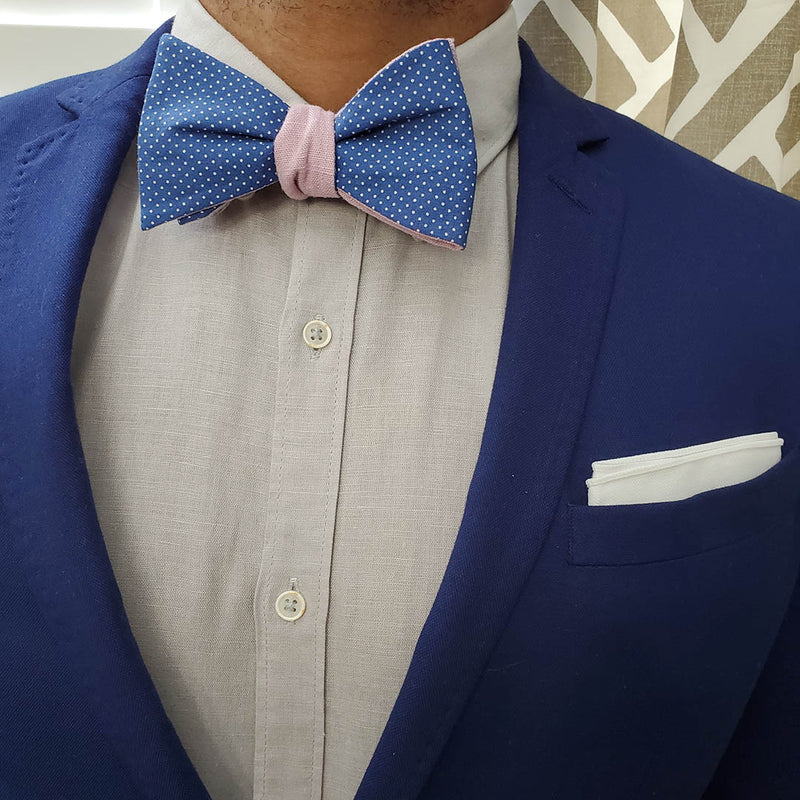 Polka Dot Blue Linen Bow Tie