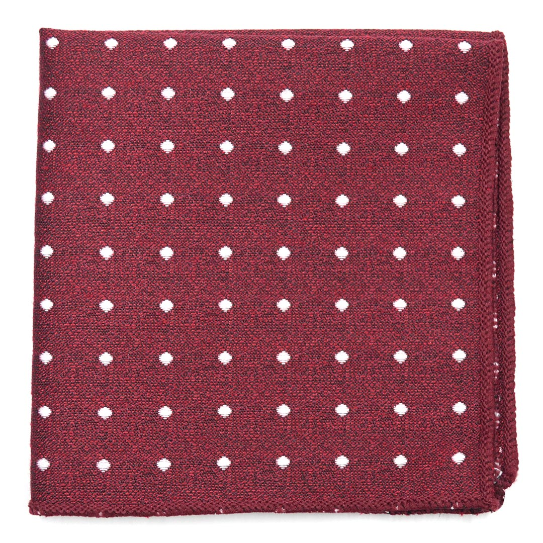Polka Dot Crimson Pocket Square