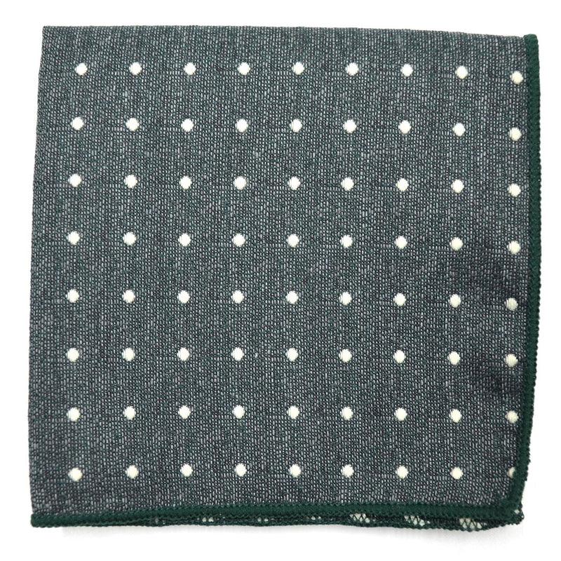 Polka Dot Hunter Green Pocket Square