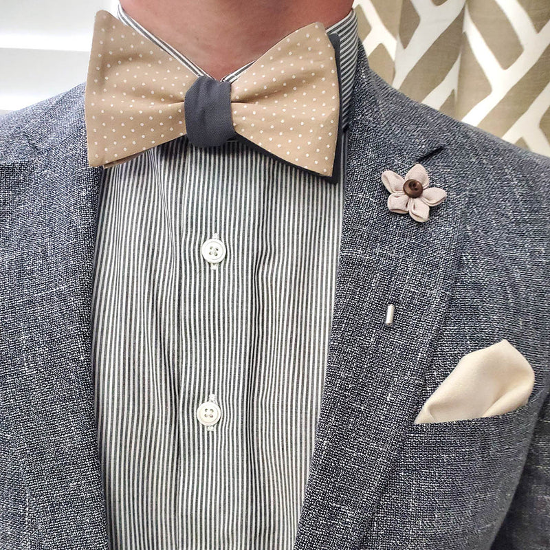 Polka Dot Grey Linen Bow Tie