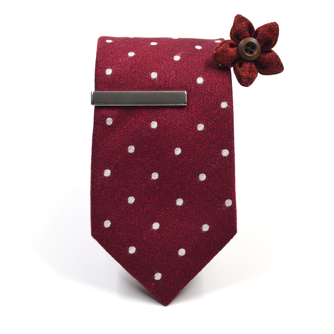Polka Dot Crimson Tie Set