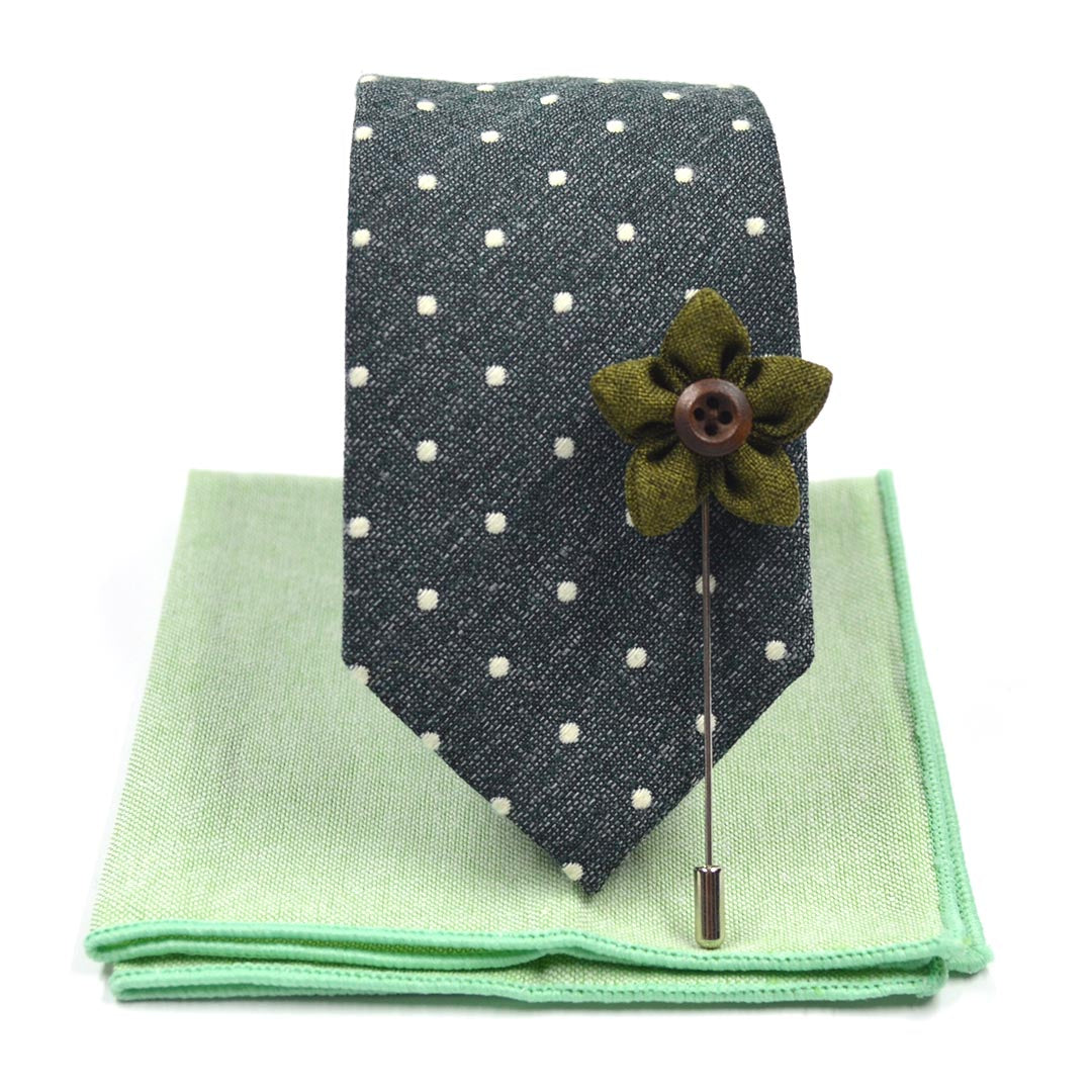 Tie Set - Polka Dot Hunter Green Tie Set