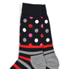 Polka Stripe Black/Red Men's Socks