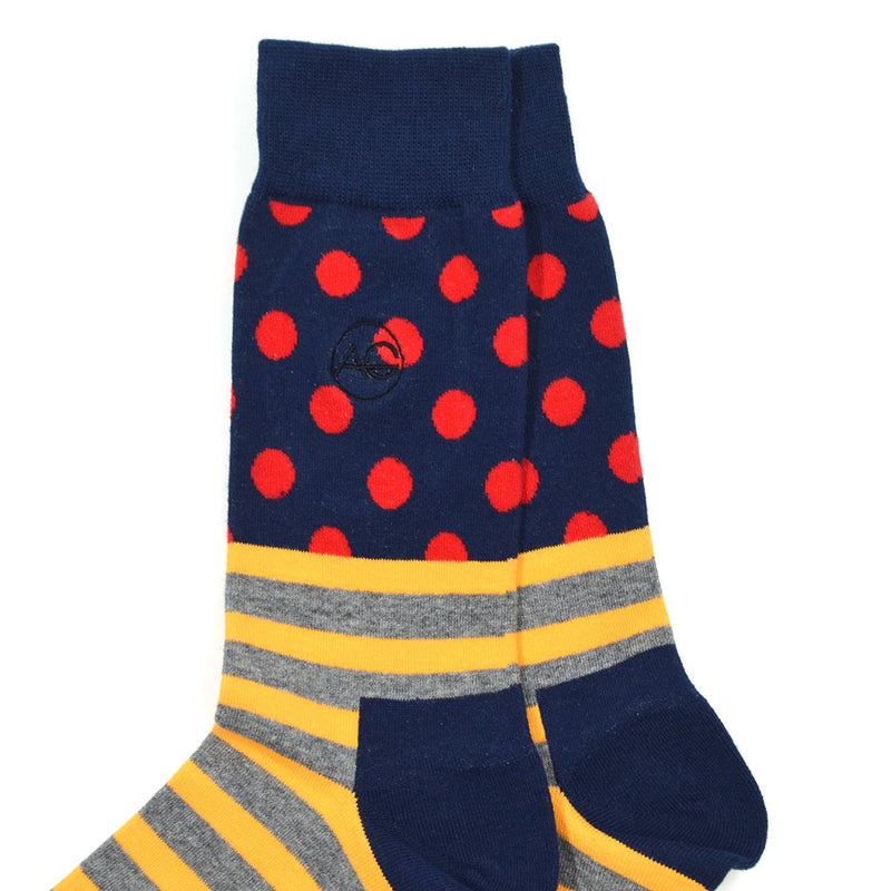 Polka Stripe Orange Men's Socks