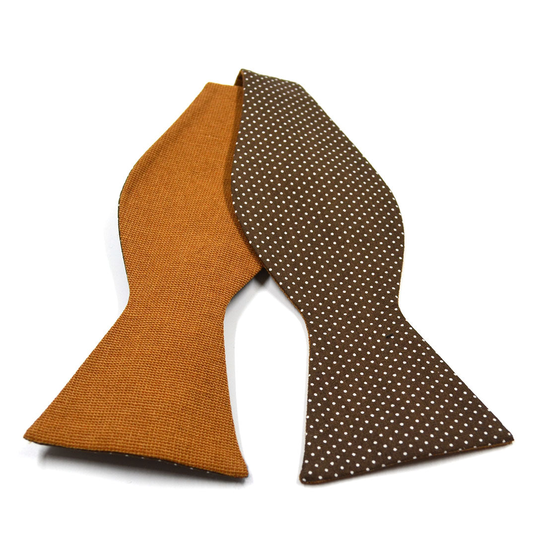 Polka Dot Brown Linen Bow Tie