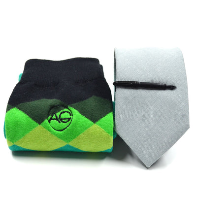 green tie and sock set