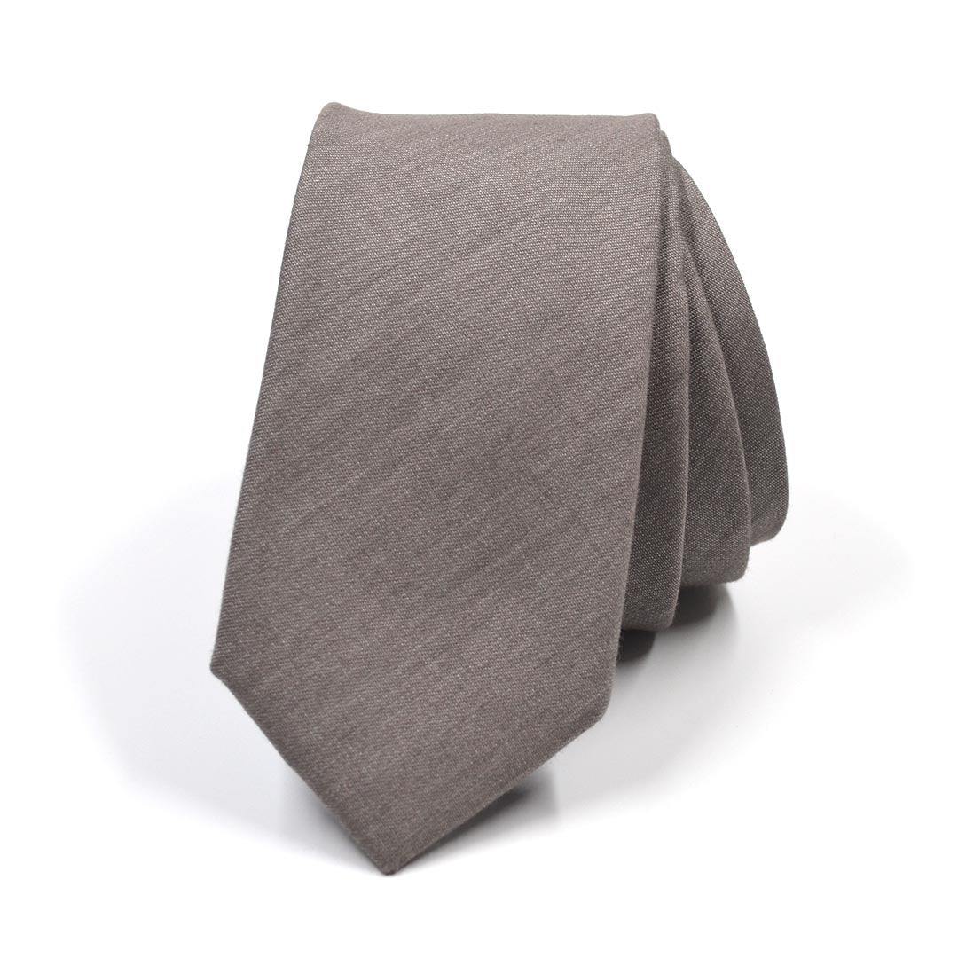 Tie - Solid Taupe Tie