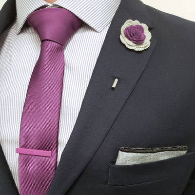 Lapel Pin - Floral Acai Grey