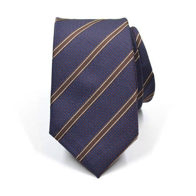 Striped Birdseye Brown Tie