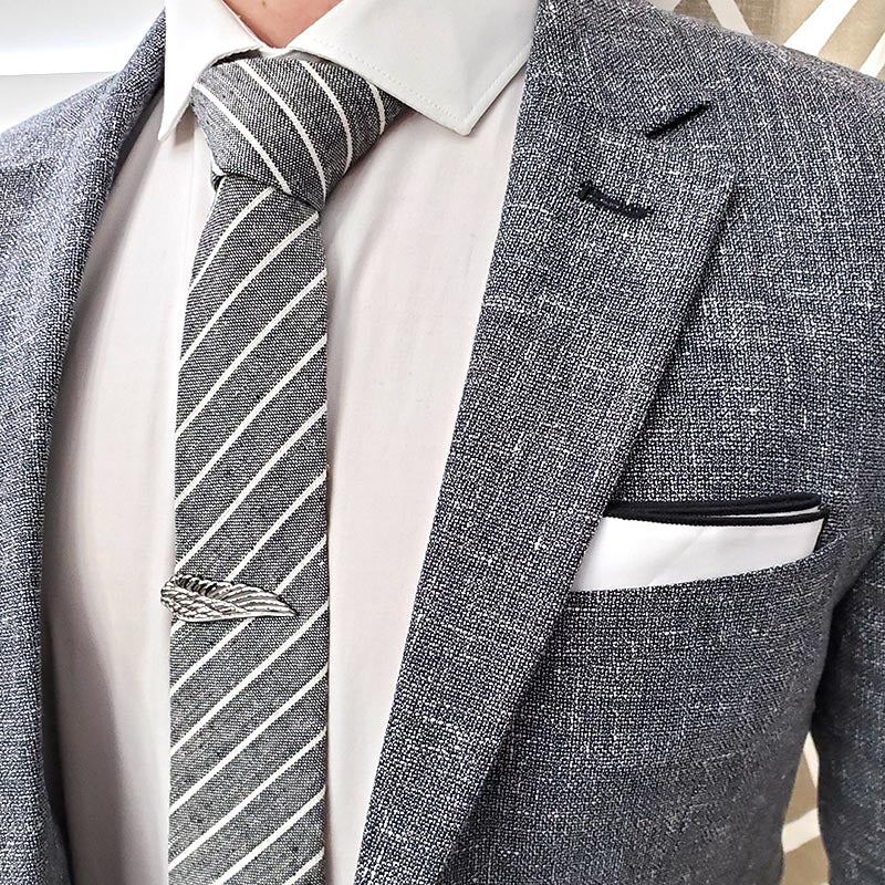 Striped Linen Pewter Tie