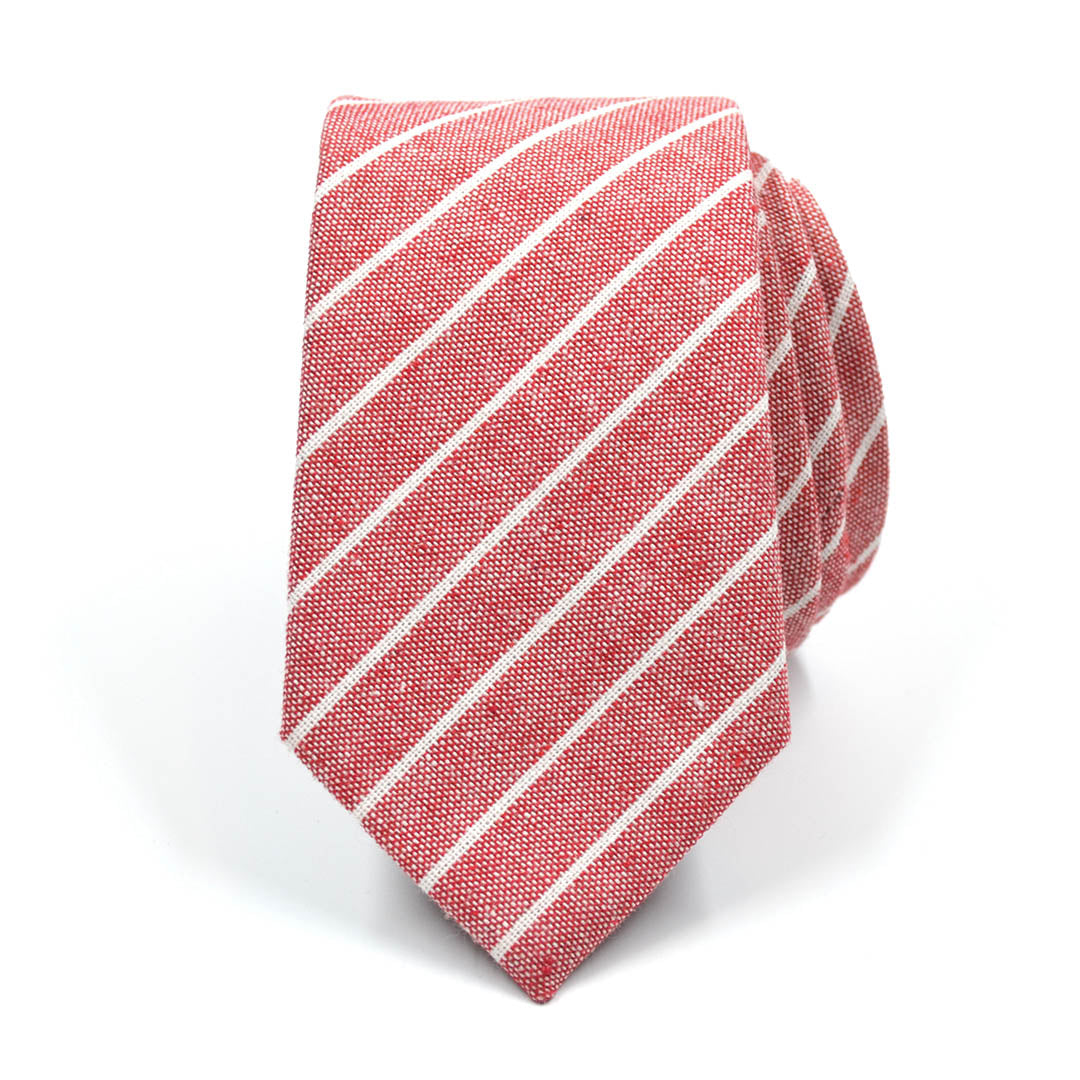 Striped Linen Red Tie